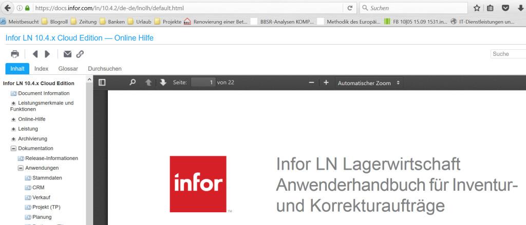 Anwenderhilfe Infor LN Online